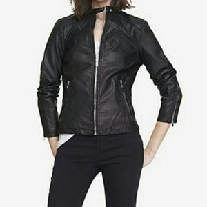 Express Minus The Leather Moto Jacket Brown Petite